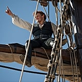 Sam Heughan rocking out while filming a season three scene at sea.