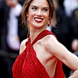 Alessandra Ambrosio Red Julien Macdonald Gown at Cannes 2019