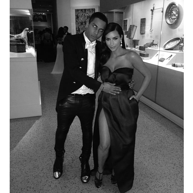 Kim and Olivier Rousteing posed for this cute snap. Source: Instagram user kimkardashian