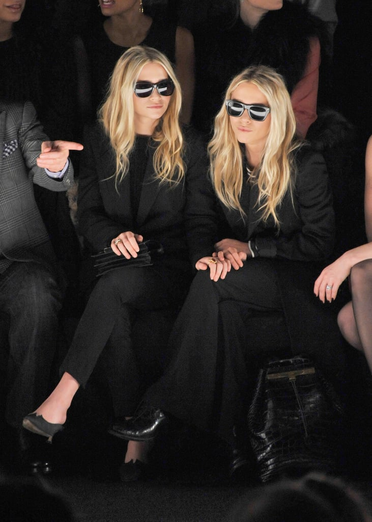 Twinning combo: If black is the colour of power, then the Olsens were reigning queens at the J. Mendel show during Fall 2012 New York Fashion Week.  Ashley donned an all-black suit with retro shades. Mary-Kate took inspiration from her twin working the exact same look.