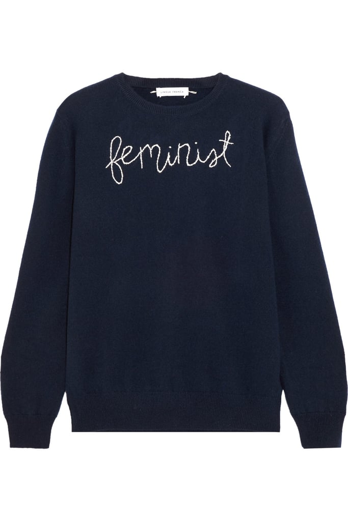 Lingua Franca Feminist Embroidered Cashmere Sweater