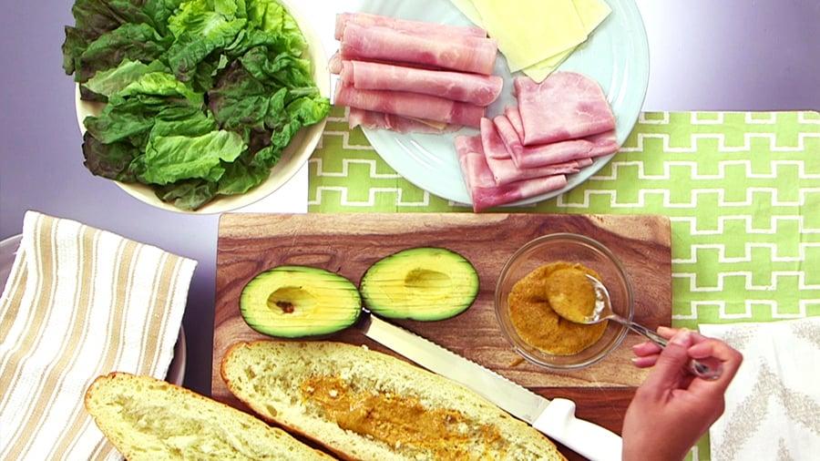 Ham, Cheese, and Avocado Sub Sandwich