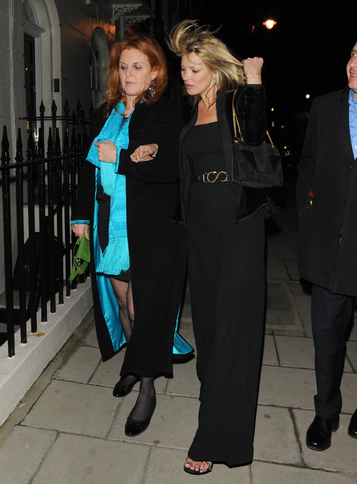 Sarah Ferguson and Kate Moss linked arms in London.