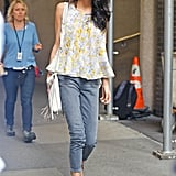 Amal looked like a total flower child when she rocked her Giambattista Valli floral trapeze top with cropped skinnies and plenty of fringe.