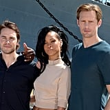 Rihanna was flanked by her costars Taylor Kitsch and Alexander Skarsgard.