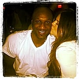 Khloe Kardashian kissed Lamar Odom on the cheek during his November birthday celebration. Source: Instagram user khloekardashian