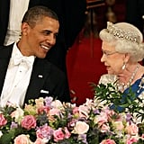 During a white tie state banquet at Buckingham Palace, the warm relationship between the queen and the former president was clear.