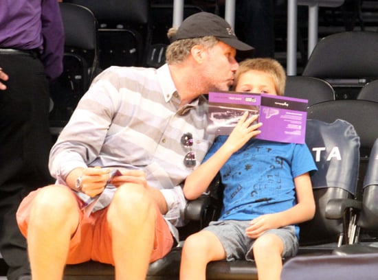 Ferrell-gave-his-son-Mattias-cute-peck-LA-Lakers-home