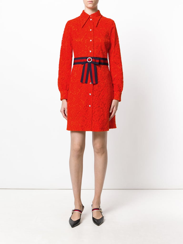 2cb41e38c Gucci Cluny Lace Dress | Kate Middleton Red Dress Leaving Hospital ...