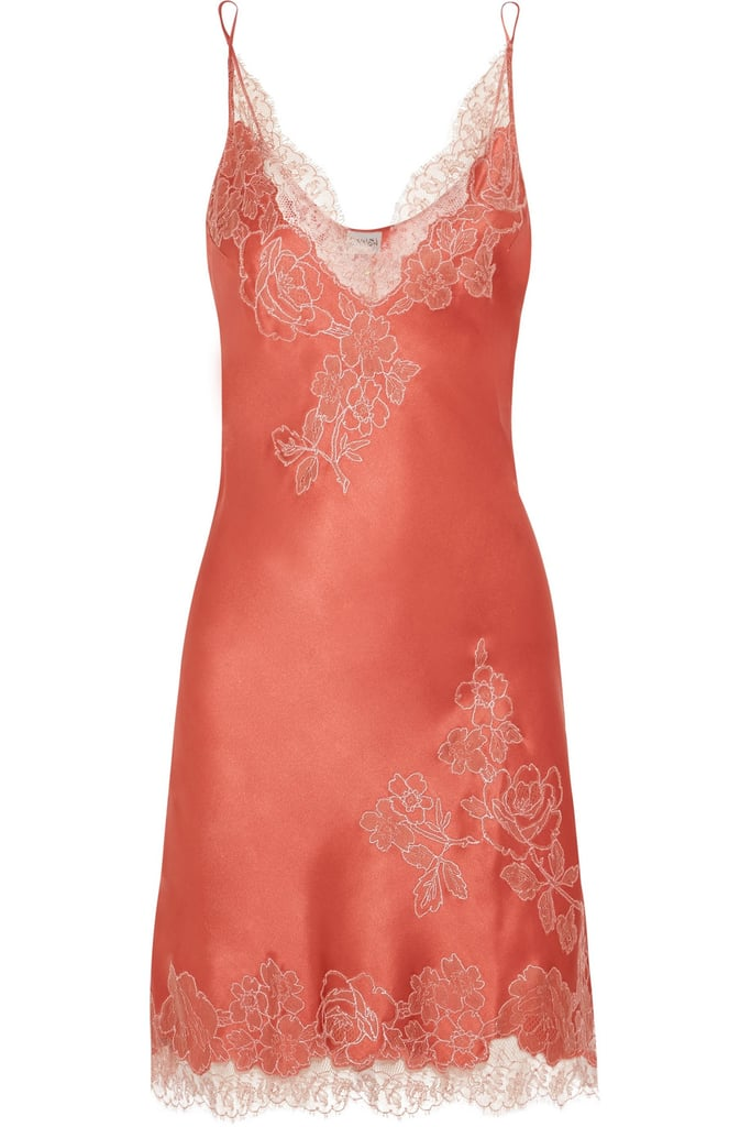 d8a016321fd Carine Gilson Embroidered Chantilly Lace-Trimmed Silk-Satin Chemise ...