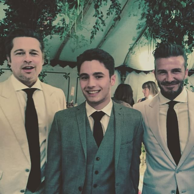 """When Brad Pitt and David Beckham are in the same room, it's only natural that people would want to get a photo with the sexy stars. On Thursday, Brad and David were among the many good-looking celebrity guests at Guy Ritchie and model Jacqui Ainsley's wedding. The couple said """"I do"""" in a beautiful ceremony at their country home in Wiltshire, and during the reception, a few of the wedding guests (including The Man From U.N.C.L.E. actor Luca Calvani) scored pictures with some of their famous friends. Keep reading to see the lucky guys who got to pose with Brad Pitt and David Beckham, then check out gorgeous pictures from Guy Ritchie's wedding!"""