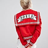 Lazy Oaf Varsity Jacket With Bored Badge ($242)