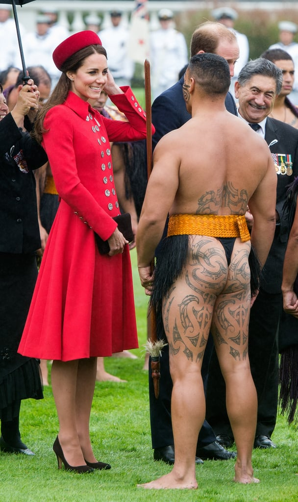 Kate kept her cool while greeting barely dressed men in Maori costumes on April 7.