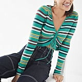 UO Cinch-Front Striped Sweater