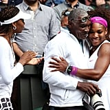 Serena celebrating with her father and sister Venus after her ladies' singles finals match against Agnieszka Radwanska during the 2012 Wimbledon Lawn Tennis Championships in London.