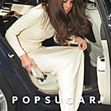 Kate Middleton stepped out of the car wearing a long white gown by Roland Mouret.