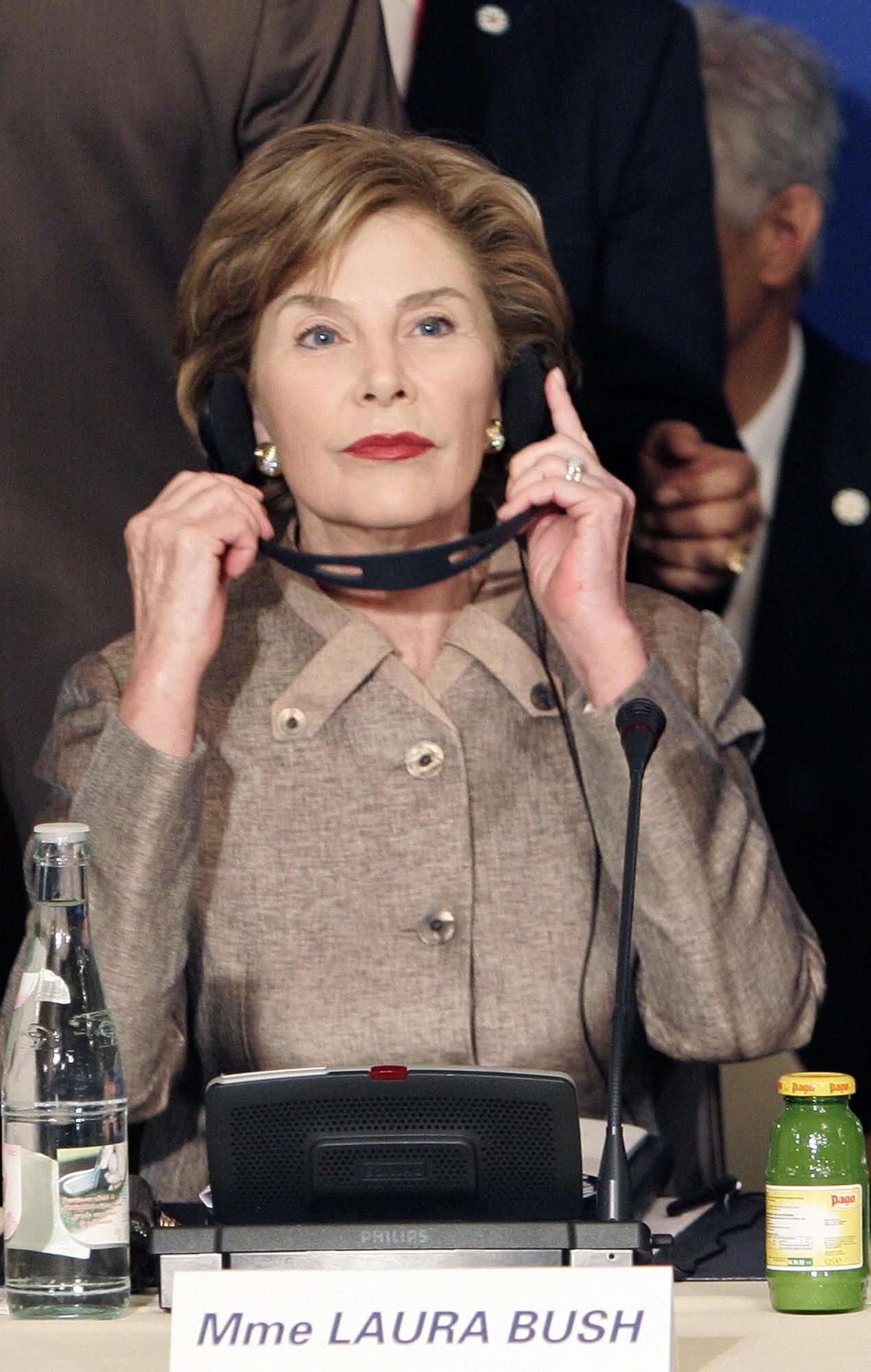 Laura Bush announced the US pledge of $10.2 billion.