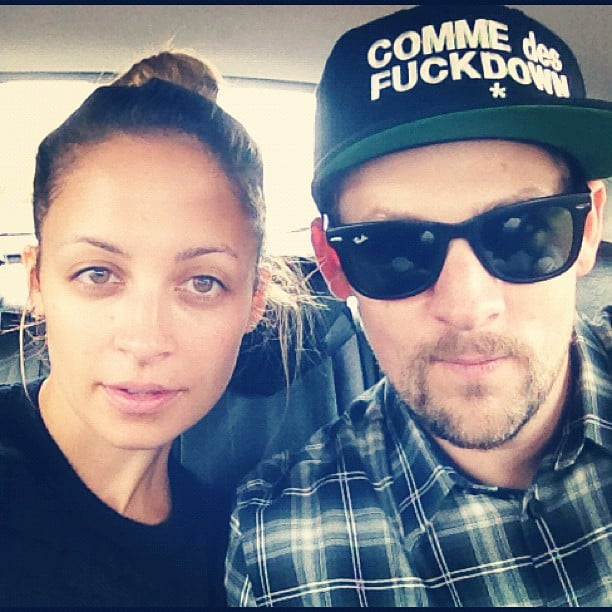 Nicole Richie and Joel Madden posed for a photo in the car.  Source: Instagram user joelmadden