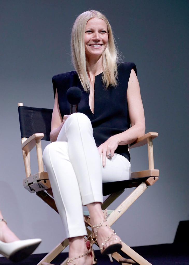 "Gwyneth Paltrow was in tech guru mode yesterday to visit the SoHo Apple store in NYC. She had the help of her friend Jessica Seinfeld during an hour-long Q&A session about the new Goop City Guides app, which has tips for visitors to NYC, LA, and London. Gwyneth and Jessica tried to focus on business and not laugh too much during the conversation, but Gwyneth quipped about why that would be a challenge. She said, ""We are usually stoned. So . . ."" Later more giggles were brought on when Jessica said that Gwyneth's most-used word — the F word — has a special place in the Goop app. Gwyneth explained that the expletive is the heading for the ""Emergencies"" section on her app that has local details on hospitals, doctors, and emergency contacts. Yesterday's Goop chat was a much more casual atmosphere compared to Gwyneth and Jessica's big night out the evening before. Gwyneth donned a bold pink Valentino gown to attend Monday night's star-studded Met Gala in NYC. If you missed out on fashion's biggest bash, be sure to check out the best Met Gala pictures from this year's event."