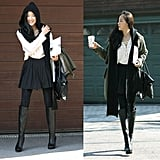 An anorak and knee-high boots are just the things you need to style up a soft white blouse and pretty pleats for the change of seasons.   Photo courtesy of Lookbook.nu