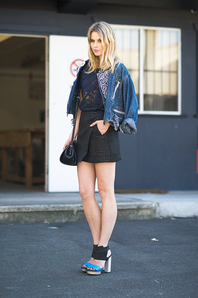 A perfect mix of texture, thanks to an exotic-feeling mini and a denim jacket to help top it off — and pare it down. Source: Le 21ème | Adam Katz Sinding