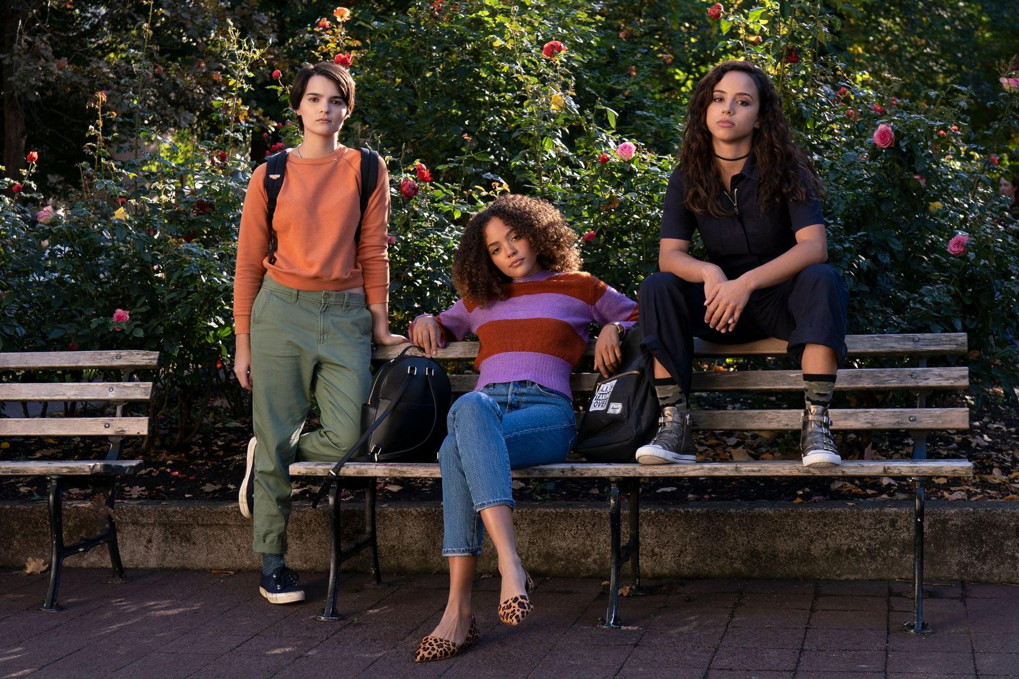 TRINKETS, from left: Brianna Hildebrand, Quintessa Swindell, Kiana Madeira in 'Mirrors', (Season 1, Episode 101, aired June 14, 2019), ph: Allyson Riggs / Netflix / Courtesy Everett Collection