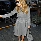 Jennifer Lopez returned from a visit to Sony Music Studios in NYC.