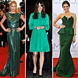 The A-list set has spoken — it's easy being green. Most recently, we spotted Kate Middleton putting her whimsical spin on a Mulberry number, while stunning beauties Allison Williams and Doutzen Kroes took on floor-skimming numbers that proved equally statement-worthy.  From left to right: Doutzen Kroes in Elie Saab, Kate Middleton in Mulberry, and Allison Williams in Ralph Lauren