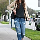 We love this one from Jordana Brewster — equal parts street chic and bohemian cool.