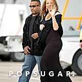Mariah Carey gave a wave on her way to the plane at the airport in Paris.