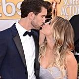 Newlyweds Ryan Sweeting and Kaley Cuoco shared a smooch at the SAG Awards.