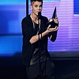 Justin Beiber was on stage at the American Music Awards in LA.