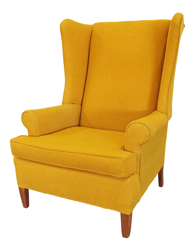 Vintage Mid Century Modern Mustard Yellow Fireside Wing Back Chair