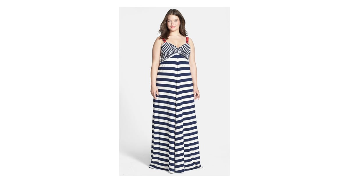 Lucky Brand Plus-Size Striped Maxi Dress | Plus-Size Dresses ...