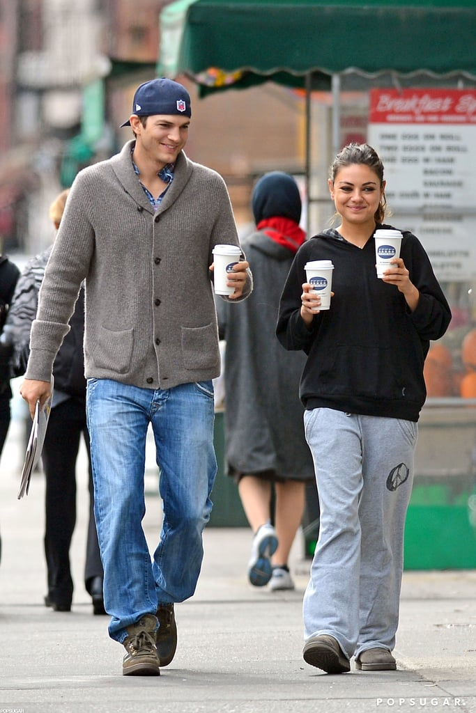Mila Kunis and Ashton Kutcher Getting Coffee in NYC