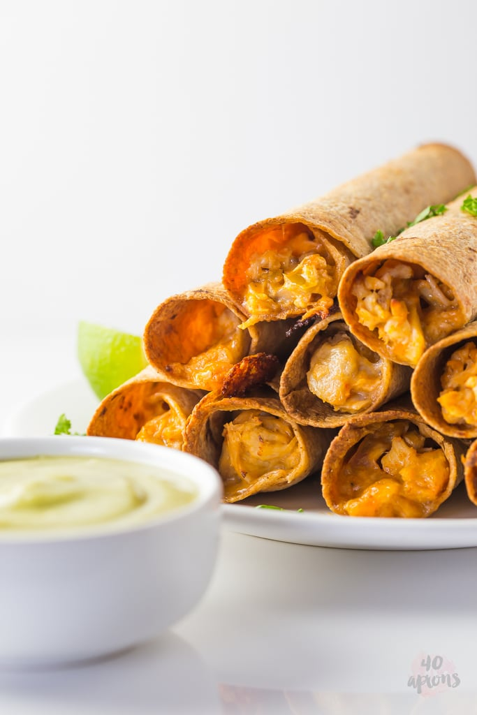 Cheesy Whole-Wheat Chicken Taquitos With Avocado Salsa