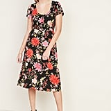 Fit & Flare Printed Button-Front Midi Dress