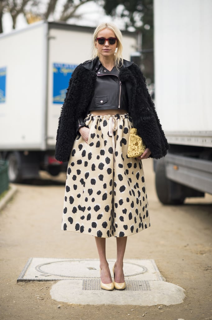 An exercise in proportional play and contrasting style personalities with an edgy jacket and perfectly sweet skirt. Source: Le 21ème | Adam Katz Sinding