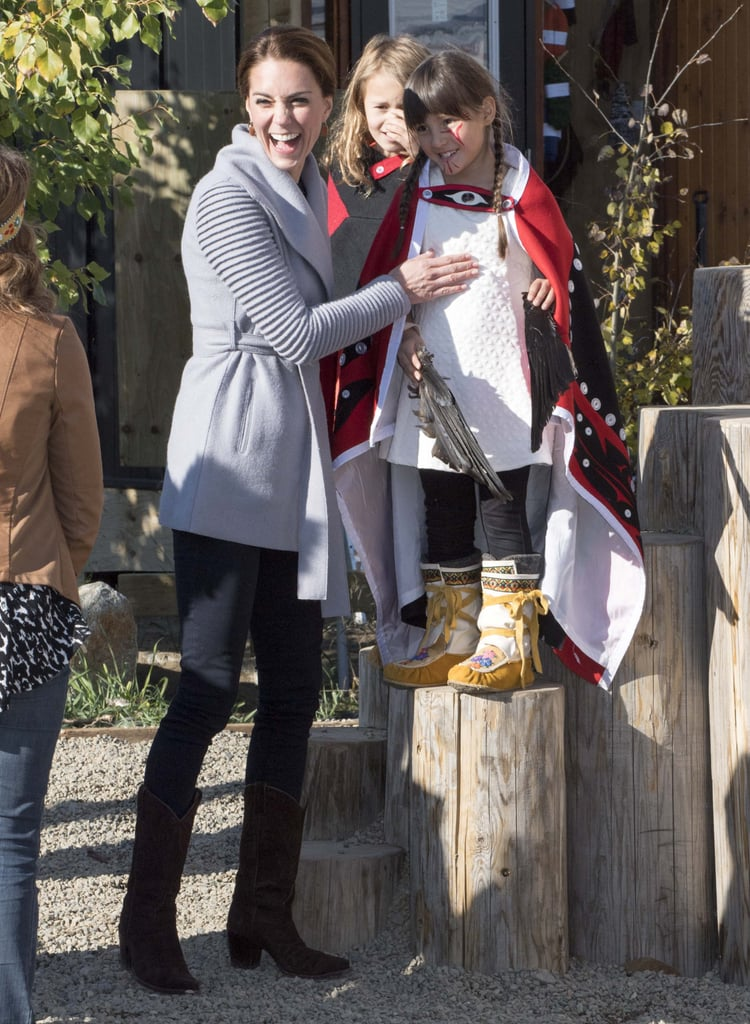 Kate shared a sweet moment with a little girl on the playground during the royal tour of Canada in September 2016.