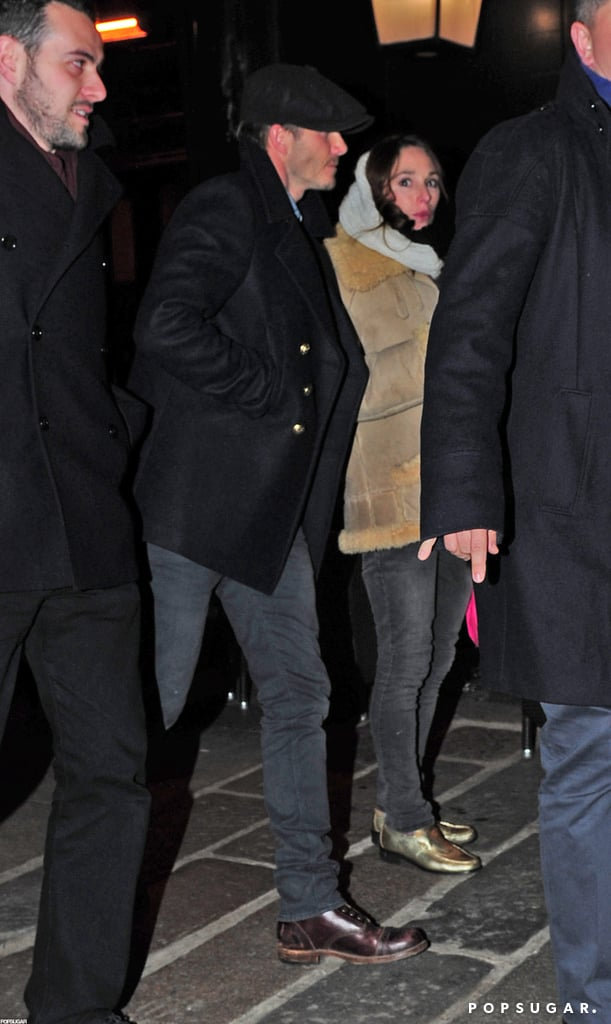 David Beckham headed to a pub in Notting Hill with a group of friends, including actor James Corden and former cricketer Freddie Flintoff, yesterday. The guys' night out came during a break from family time for David, who arrived in London with his wife, Victoria, and their four kids earlier this week. It looks like they're planning on spending the holidays in their home city, but before they celebrate Christmas, they're taking care of other obligations. David, Victoria, Brooklyn, Romeo, and Cruz attended a press event in support of the Spice Girls' Viva Forever! musical and a few of the boys took Harper to make a charitable visit to a children's hospital as well. Victoria, Harper, and Cruz were back out on Wednesday, when they grabbed dinner at pal Gordon Ramsay's restaurant Maze.