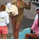 Cameron Diaz covered up her bikini with a cardigan at the beach.