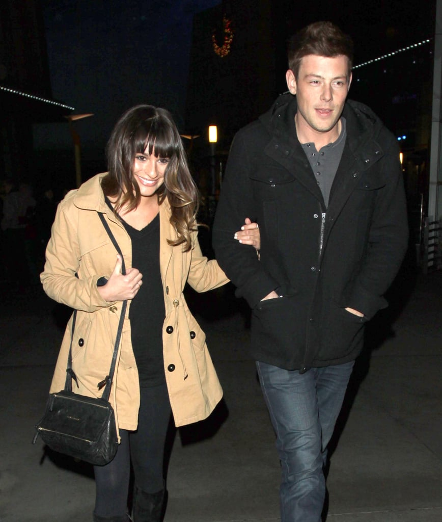 Lea Michele and Cory Monteith smiled for the cameras.