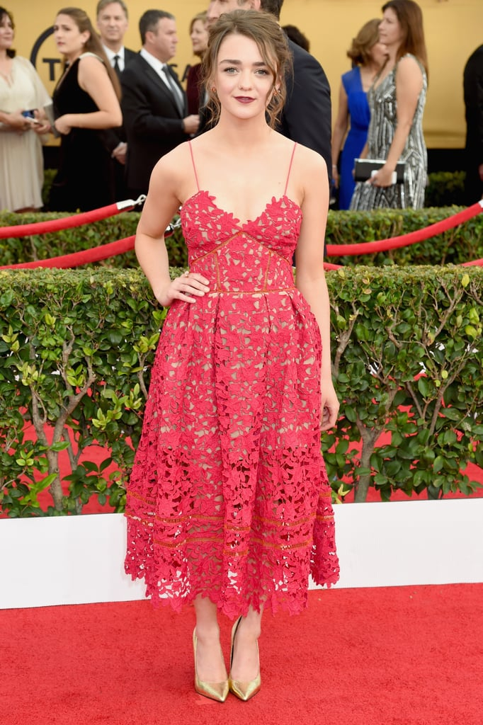 A fun red tea-length Self Portrait dress was the perfect choice for the SAG Awards, when a gown would have been the more obvious (and mature) option. This suits Maisie's personality much better.