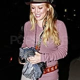 Hilary Duff smiled leaving dinner in LA.