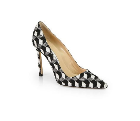 Our love for Manolo Blahnik simply cannot be overstated, and we're all over the latest iteration of the brand's classic heels. The BB Graphic Print Canvas Pumps ($655) pack a punch that can't be missed — and that's largely thanks to their geometric black and white pattern.