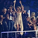 Taylor Swift got excited in the audience.