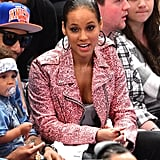 Alicia Keys chatted with her guys during the game.
