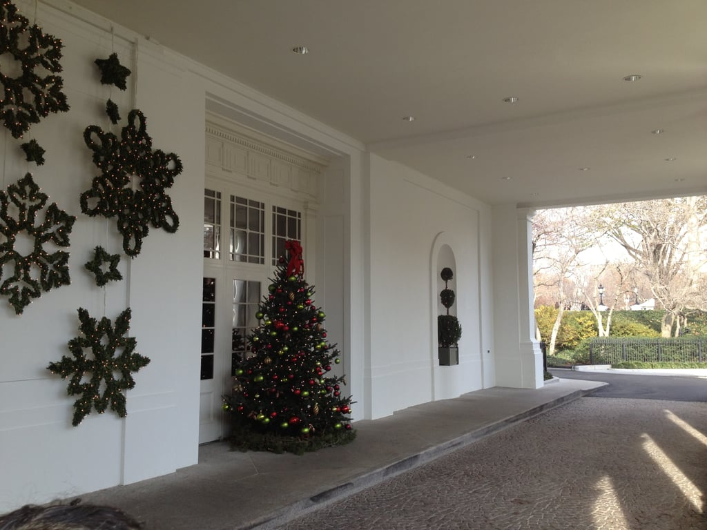 We entered through the East Visitor Entrance and Landing, which was decked out with trees and wreaths. 90,000 people are expected to check out the White House holiday decor this year.