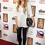 Lauren Conrad attended the opening of LA's Hyde Lounge in DVF leather leggings, a slouchy white blouse, and sexy Givenchy heels. Lesson from Lauren: black and white is a tried-and-true staple.