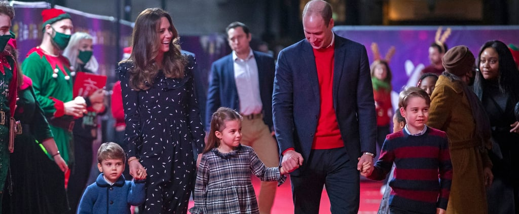 Kate Middleton Wearing Navy Dress With Kids on Red Carpet
